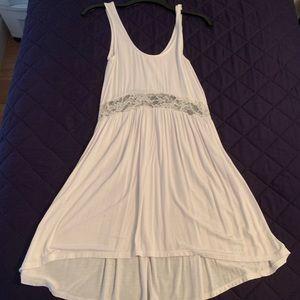 White jersey cotton tank dress w lace detail